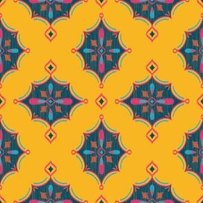 Diamond Ikat (Goldenrod) // Hand Drawn Moroccan - inspired Middle Eastern Lantern Tile & Textile Art