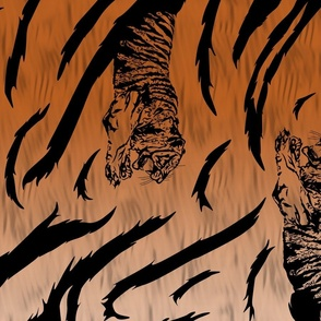 Tribal Tiger stripes print - vertical faux fur orange large
