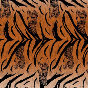 Tribal Tiger stripes print - vertical faux fur orange medium