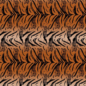 Tribal Tiger stripes print - vertical faux fur orange small