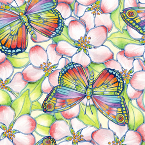 Apple Blossoms Rainbow Butterflies