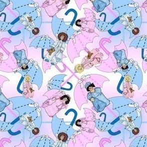 Baby Nicky Girl and Boy It's A Girl! It's A Boy! Squares Fabric