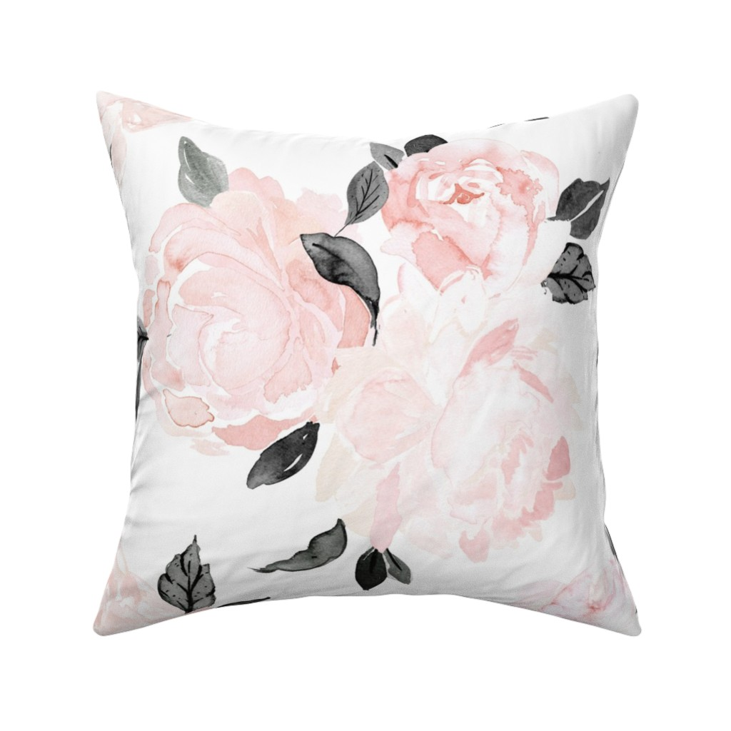 Catalan Throw Pillow featuring vintage blush floral-bw by crystal_walen