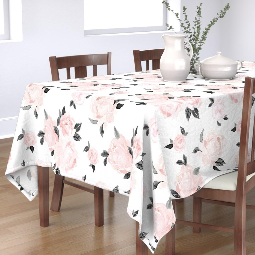 Bantam Rectangular Tablecloth featuring vintage blush floral-bw by crystal_walen