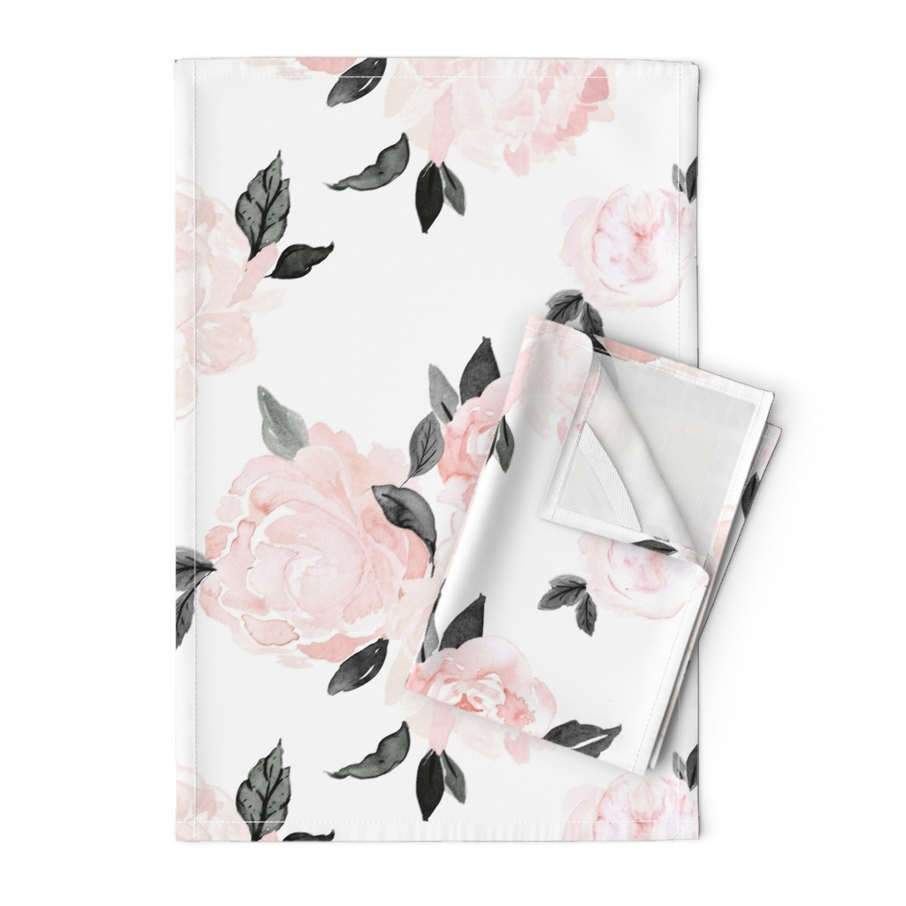 Orpington Tea Towels featuring vintage blush floral-bw by crystal_walen