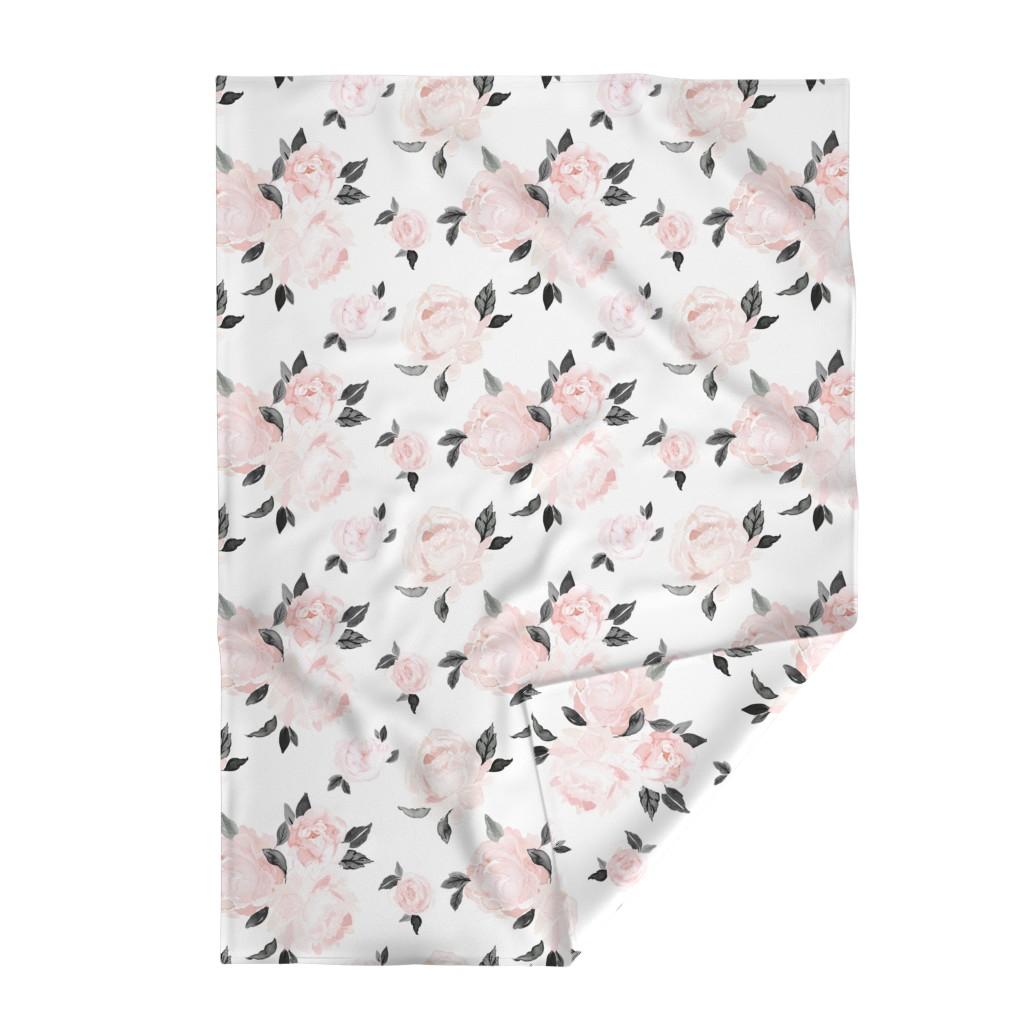 Lakenvelder Throw Blanket featuring vintage blush floral-bw by crystal_walen