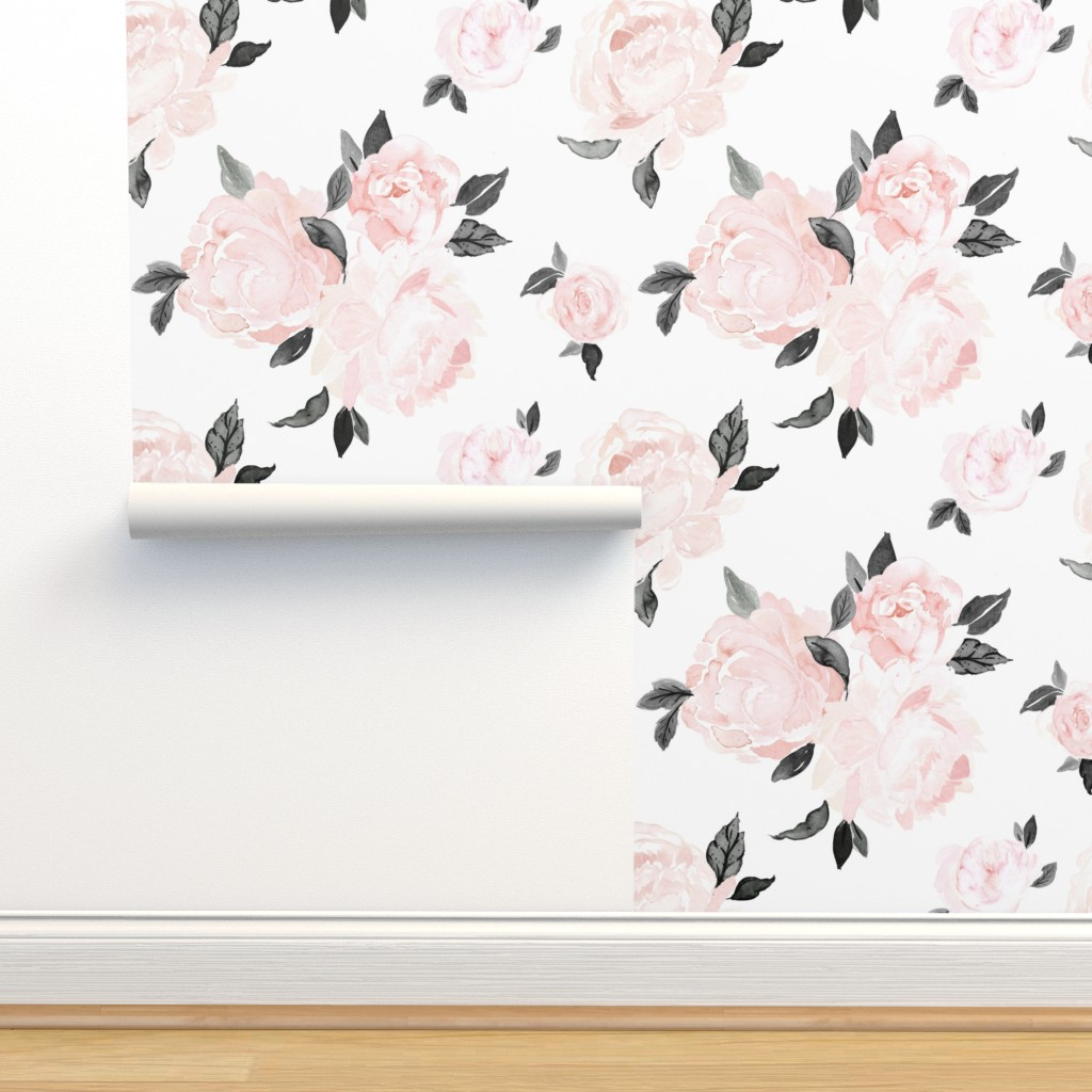 Isobar Durable Wallpaper featuring vintage blush floral-bw by crystal_walen