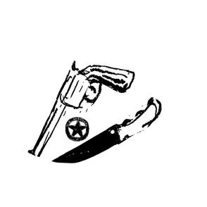 gun knife badge white