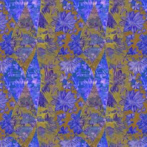 cobalt gold leaf floral