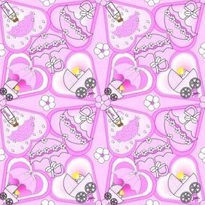 Baby Hearts Bunting Girls Fabric 2