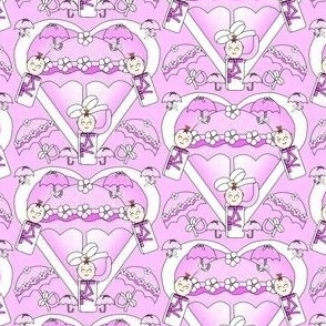 Baby Hearts Bunting Girls Fabric 4