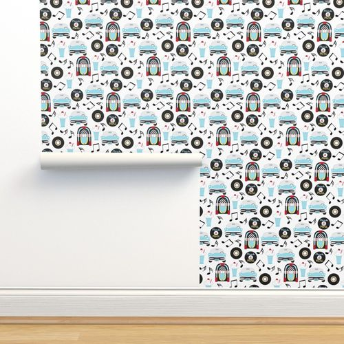 Wallpaper Vintage 50s Sock Hop Pattern