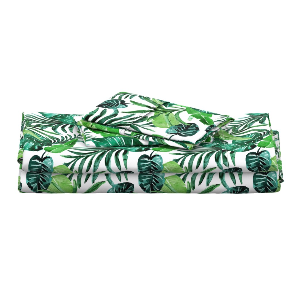 Langshan Full Bed Set featuring tropical-greens//white by crystal_walen