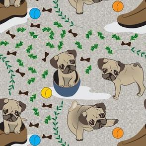 Playful Puppy Pugs, Dogs, Pugs, Shoe, Bone,  Cute dogs