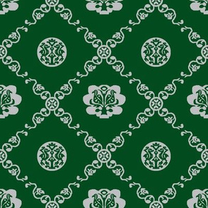 Syrian Medallions-Green and Gray