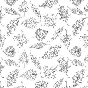 swirling leaves black on white