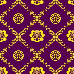 Syrian Medallions-Purple and Yellow