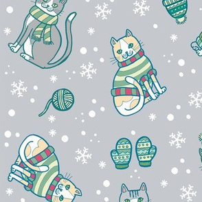 Meowrry Christmas! in Grey