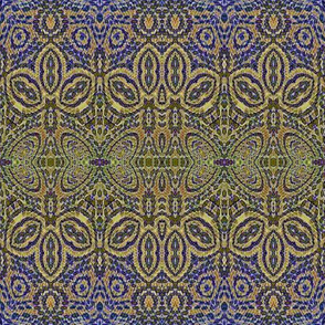 ornate blue gold tapestry