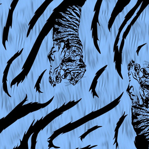Tribal Tiger stripes print - vertical ocean blue large