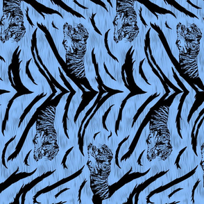 Tribal Tiger stripes print - vertical ocean blue medium