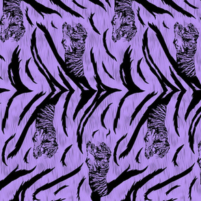 Tribal Tiger stripes print - vertical psychic purple medium