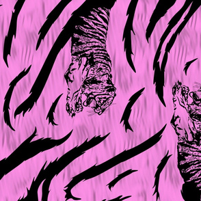 Tribal Tiger stripes print - vertical bubblegum pink large