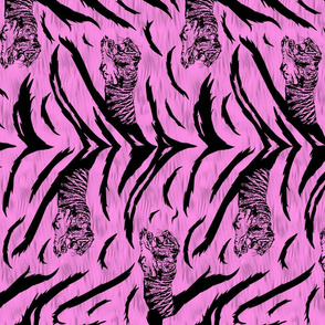 Tribal Tiger stripes print - vertical bubblegum pink medium