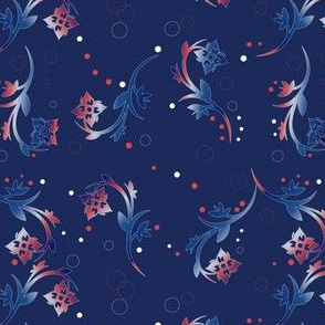 Red and White Floral on Navy