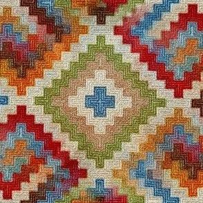 kilim rug design, large scale, beige red green blue orange