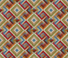 kilim rug design, large scale, beige red green blue orange