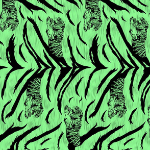 Tribal Tiger stripes print - vertical jungle green medium