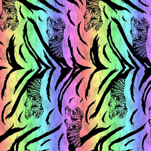 Tribal Tiger stripes print - vertical neon rainbow medium