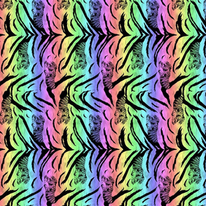 Tribal Tiger stripes print - vertical neon rainbow small