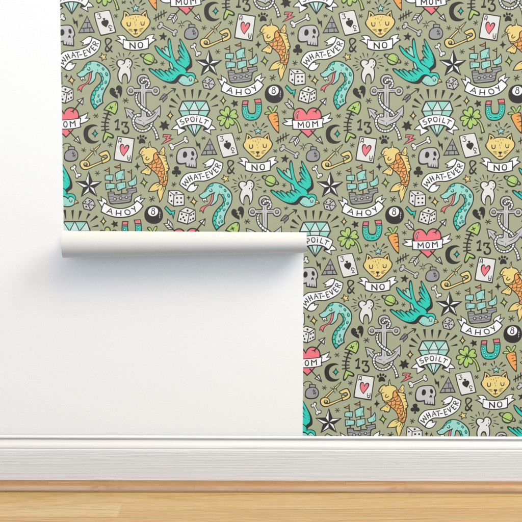 Isobar Durable Wallpaper featuring Tattoo Doodle on Olive Green by caja_design