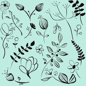 Wildflower garden / teal mint blue / illustrated botanicals