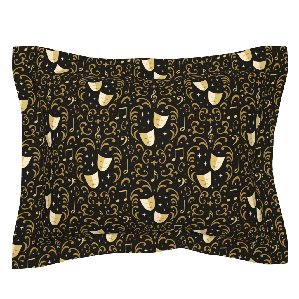 Sebright Pillow Sham featuring Theater Damask by robyriker