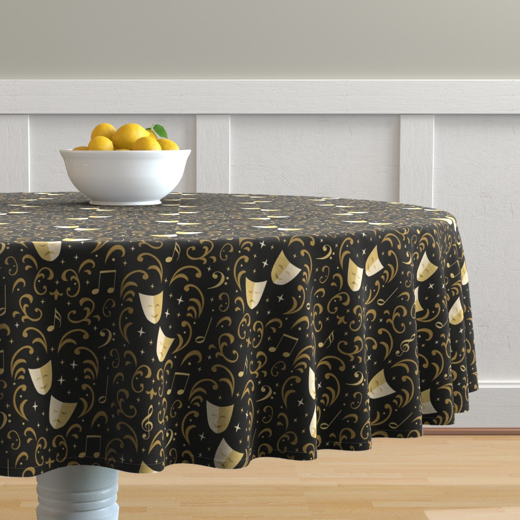 Malay Round Tablecloth featuring Theater Damask by robyriker