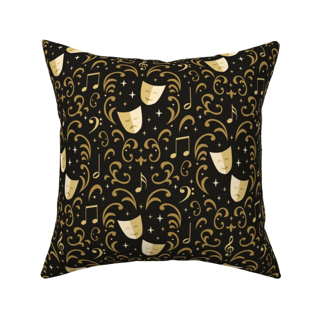 Catalan Throw Pillow featuring Theater Damask by robyriker