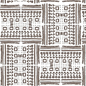 African Art Inspired Mud Cloth White