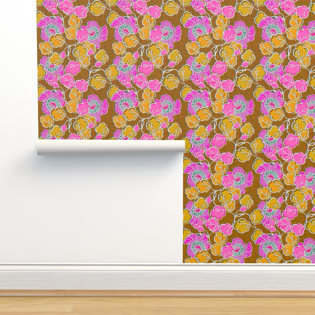 Hot Pink And Yellow Floral On Isobar By Joanmclemore Roostery