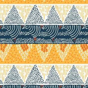 Mountain Sun by Sea Geometric Pattern