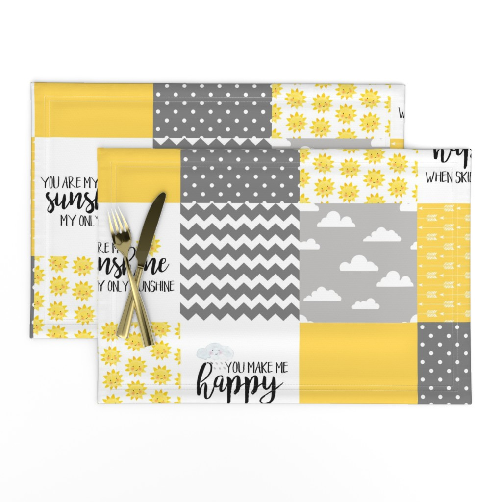 Lamona Cloth Placemats featuring You are my sunshine - wholecloth cheater quilt by longdogcustomdesigns