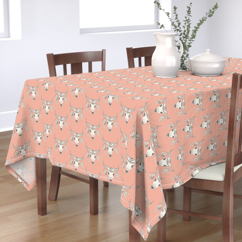 Bantam Rectangular Tablecloth featuring Boho Desert Skull by heatherhightdesign