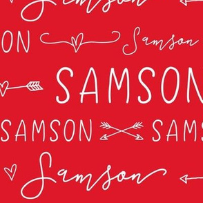Girls Personalized Name // Red and White Doodles - Samson