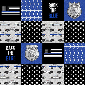 Police Patchwork  - thin blue line - back the blue wholecloth