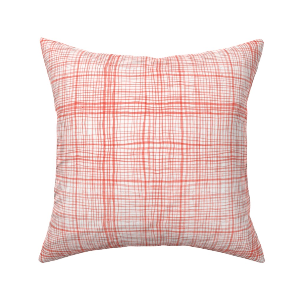 Catalan Throw Pillow featuring Prairie Gingham Faded Red by katebillingsley