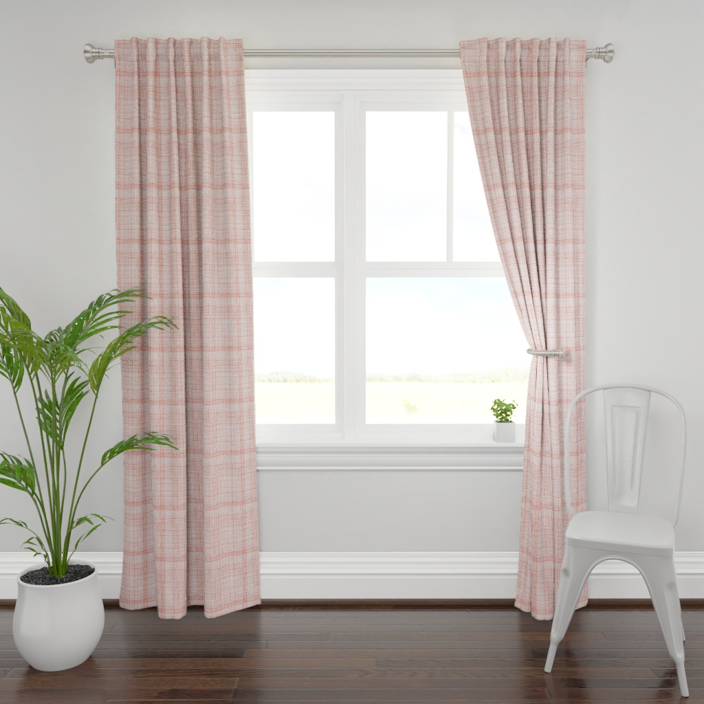 Plymouth Curtain Panel featuring Prairie Gingham Faded Red by katebillingsley