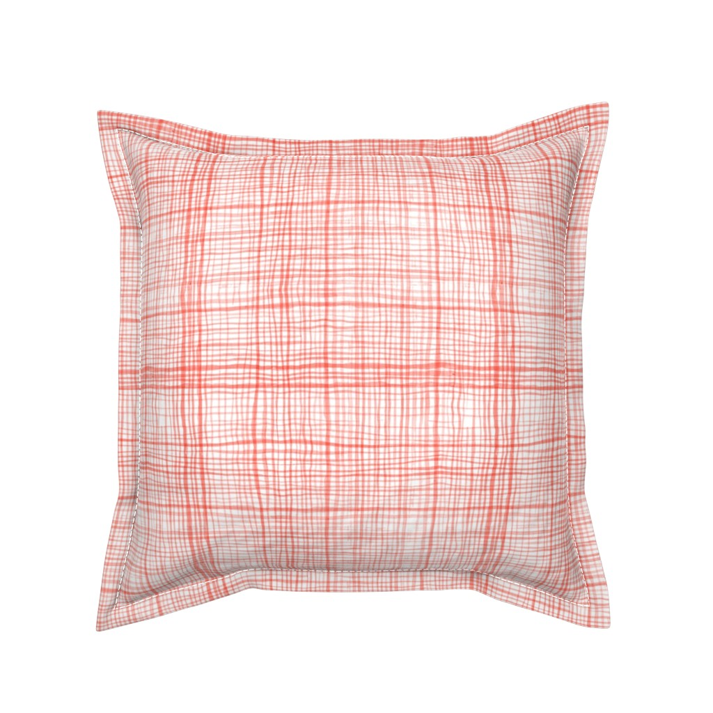Serama Throw Pillow featuring Prairie Gingham Faded Red by katebillingsley