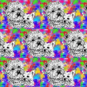Colorful Westie and Pup